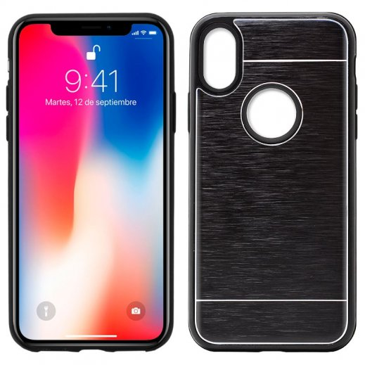 Funda Silicona Aluminio Iphone 8x Negra - Foto 1