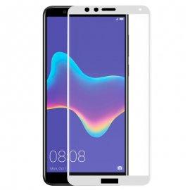 Protector Cristal Templado Huawei Y9 2018 3d Blanco