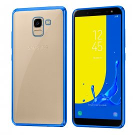 Funda Silicona Samsung J600 Transparente Filo en Azul