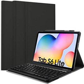 Funda Galaxy Tab S6 Lite con Teclado en Polipiel Negra